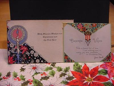 Vintage Lot of 2 ART DECO Flat CHRISTMAS Cards: CANDLES w/HALO+FLORALS