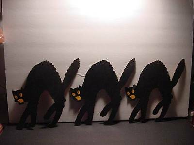 Vintage 1920s DENNISON 3 Arched-Back Black Cats w/Pale Orange Backs Lot