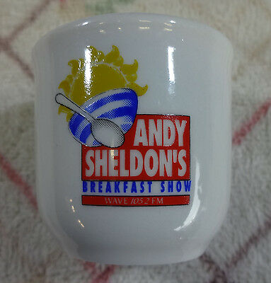 Collectable  Egg Cup.  Andy Sheldon's Breakfast Show.  Wave 105  2  Fm.