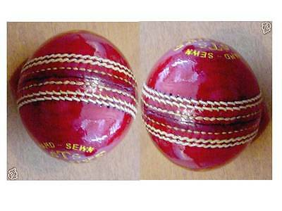 2 Hand sewn four piece RED Leather 51/2oz(156g) STS cricket balls 24hr