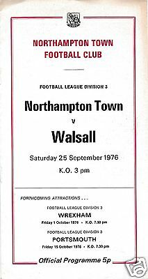 Northampton Town  V  Walsall  3Rd Division    25/9/76