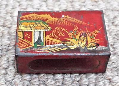 Antique Chinese Cloisonne Match Box Cover / Holder c1900 (d)