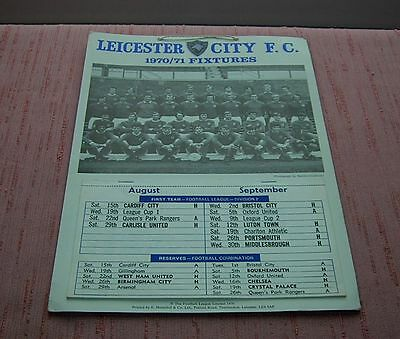 Leicester City 1970/71 Fixture Callender First Team & Reserves Unused