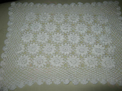 """White Hand Crocheted Place Mats Set Of 3 9"""" X 11"""""""