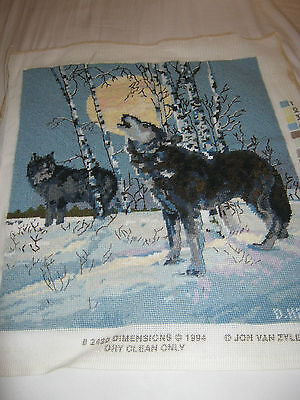 Finished Needlepoint Tapestry Wolves Howling At The Moon