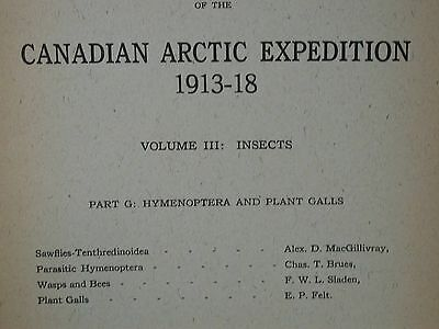 Canadian Arctic Expedition 1913-18 Vol III Insects Part G Hymenoptera Plant Gall