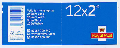 GB 2016 M16L NEW FONT 12 x 2nd INVERTED SECURITY BACKING PAPER (2) BOOKLET