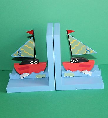 Sass & Belle Wooden Boys Bedroom Sailing Boats Bookends