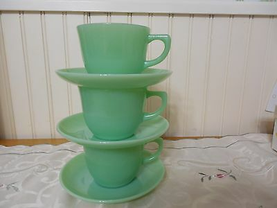3 Fire King Oven Glass Jade ite 1700 Ransom Coffee Cups & Saucers Beautiful!