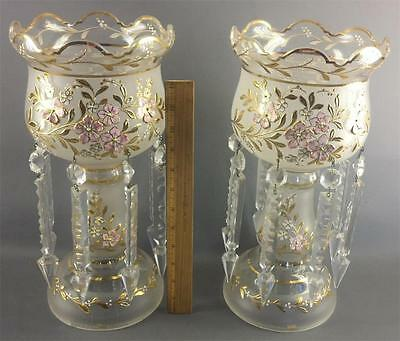 Antique Pair Bohemian German Lusters Frosted Glass Painted Enamel Floral Gilded