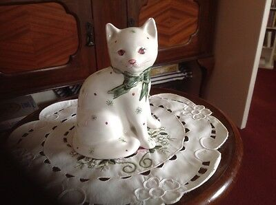 Rye Pottery Cat In White And Green