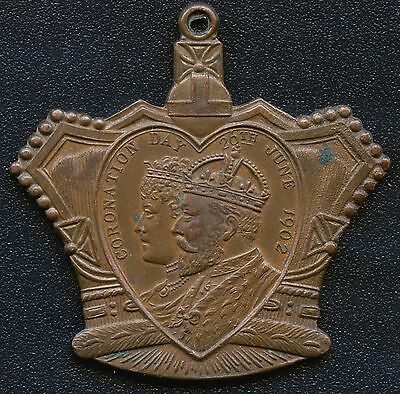 "1902 King Edward VII Coronation Pendant ""Glasgow"" Crown Shaped 38 mm x 38 mm"