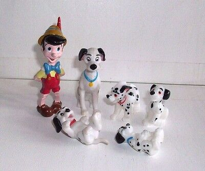Disney 101 Dalmations Puppy Dogs & Pinocchio Figures - Small Toys / Cake Toppers