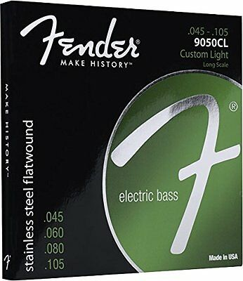 Fender 9050CL Stainless Steel Flatwound Electric Bass Strings .045-.105