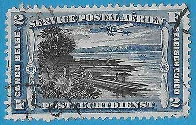 + 1920 Belgian Congo Africa Congo River View Air Post Bob #C3 AP3 2Fr used