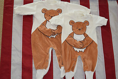 2 x Baby Bear Hug Babygrows by GEORGE size UK First Size and 3-6 Months