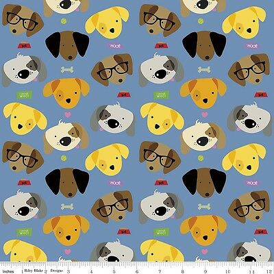 "2 yards Riley Blake ""Rover"" Dogs on Blue   Fabric"