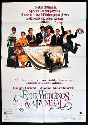 FOUR WEDDINGS AND A FUNERAL 1994 Hugh Grant, Andie MacDowell US 1-SHEET POSTER