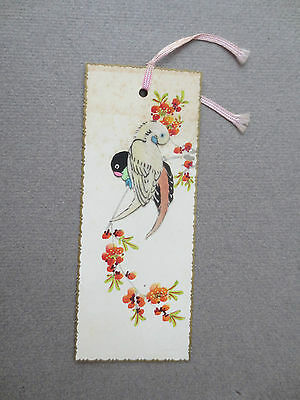 BOOKMARK Vintage Greetings Two Applied Parrots in Blossom Tree  Birds