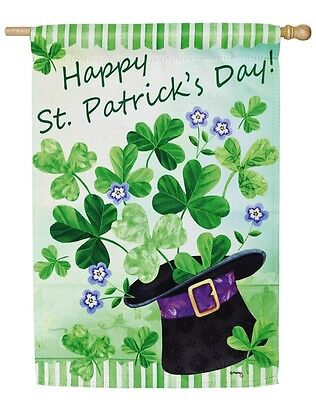 Happy St. Patrick's Day Irish Clover Double Sided Suede Reflections House Flag