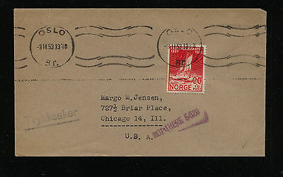 Norway   B22  on  cover to  US                                     KL0327
