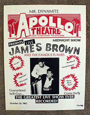 Rare James Brown & The Famous Flames Poster - Apollo Theatre - R&B Poster- Repro