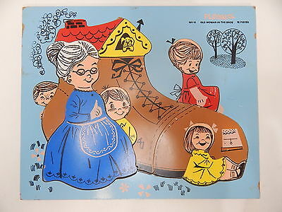 Playskool Old Woman In The Shoe Wooden Puzzle 185-15 Vintage