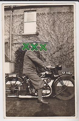 Photo ? Postcard - Man On Motor Bike - Reg ; Ex2467.