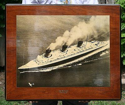 1935 Ocean Liner Normandie French Line 14x19 Framed Original Photo