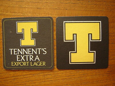 2  Tennent's  Extra  Beer  Mats / Coasters / Sous Bock  New