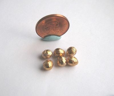 6 x DOLLHOUSE MINIATURE GOLDEN GOLD EASTER EGGS 1:12 SCALE