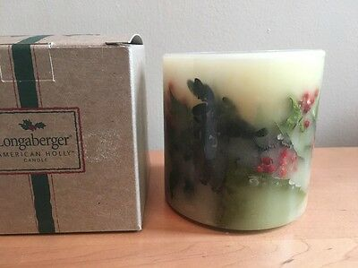 Longaberger American Holly Inclusion Pillar Candle - Green