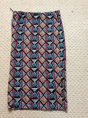 New look womens multi coloured Aztec print pencil skirt size 12