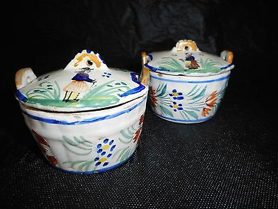Vintage Henriot Quimper Faience Breton pair of butter tubs