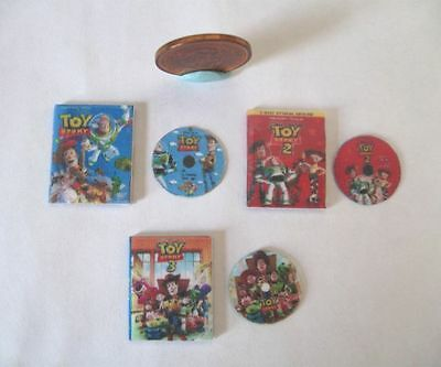 3 x DOLLHOUSE MINIATURE DVD'S DVD DVDS TOY STORY 1, 2 & 3 FOR 1:12 SCALE