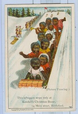 1887 Trade Card Black Children Riding Toboggan