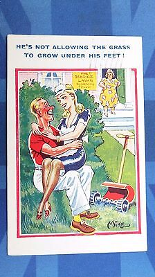Risque Comic Postcard 1949 Nylons Stockings Blonde Antique Lawnmower Lawn Grass