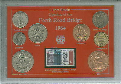 The Forth Road Bridge Opening Scotland Edinburgh Fife Coin & Stamp Gift Set 1964
