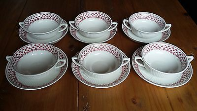Adams ...victoria... Two Handled Soup Coup And Saucer...x  6..rare