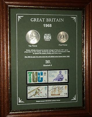 FRAMED 1968 COIN STAMP SET (RETRO 51st BIRTHDAY PRESENT WEDDING ANNIVERSARY GIFT