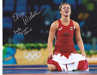 Erica Wiebe Signed Wrestling 2016 Olympic Gold Medal Canada 8X10  Proof