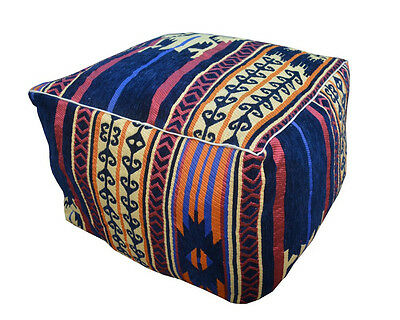 "Handcrafted Egyptian Moroccan Bedouin 20"" Square Ottoman Pouf Footstool #MP08"
