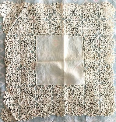 Heirloom Victorian Hanky Ivory Linen Hand Crochet Lace Border Wedding Bride