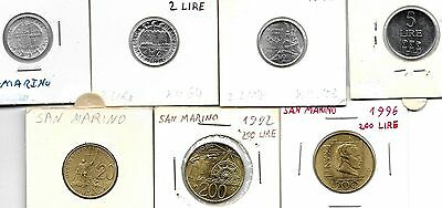 San Marino Lot Of 7 Different Coins