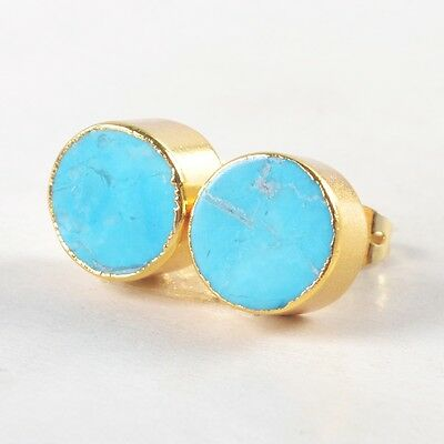 10mm Round Blue Howlite Turquoise Stud Earrings Gold Plated B032800