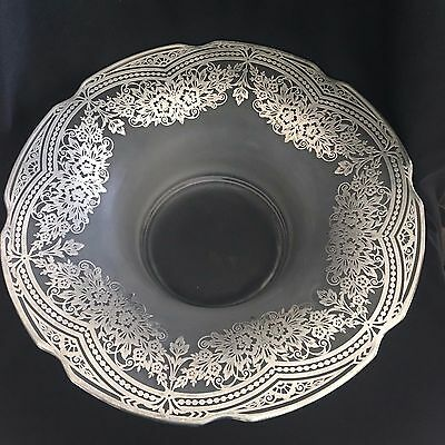 "Antique STERLING SILVER OVERLAY 13"" Floral Design Frosted Satin BOWL"