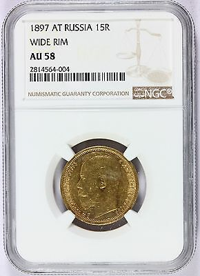 1897 AT Russia 15 Roubles Wide Rim Gold Coin - NGC AU 58 Graded - Y# 65.1