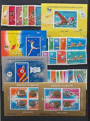 ROMANIA 1987-88, $110 MNH COLLECTION, Olympics, Olympiques, Olimpiada, Olympiade