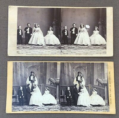 Antique Brady Photo General Tom Thumb Fairy Wedding Party Stereoview Cards