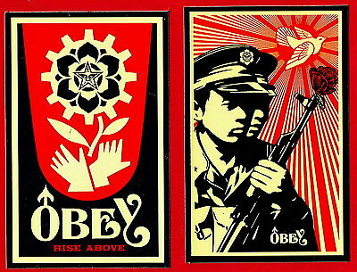 Obey Giant Chinese Soldiers & Rise above & Icon 3  Vinyl Stickers Mint